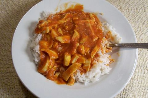 Curried Eggs Over Rice