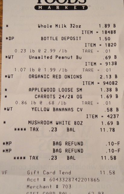 Week Two, Receipt Three