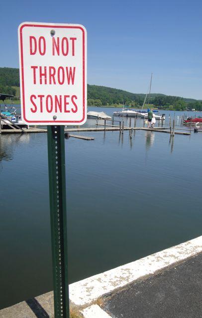 sign at Otsego Lake, Do Not Throw Stones