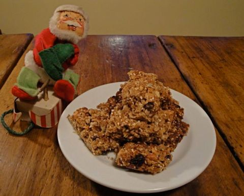 plate with granola bars and Santa
